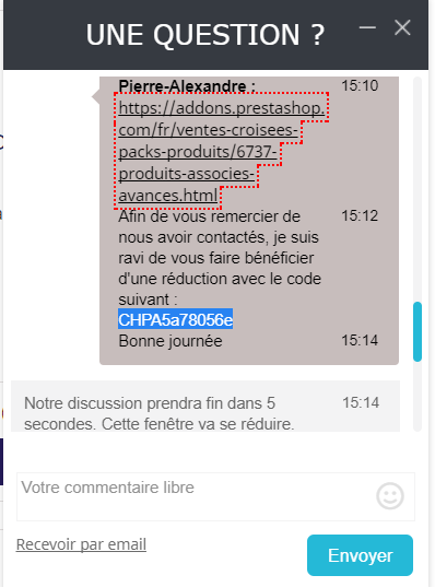 code de reduction Prestashop